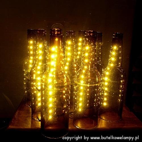 Dziewi Ciopak Wiec Cy Ledami Zjawiskowa Lampa Z Butelek Bi Uteria Autorska Lampy Witra Owe